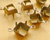 12 Brass Settings - 8mm Two Loop Square Settings (S68-12)