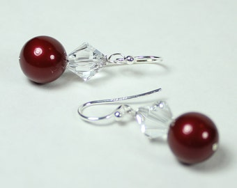 Cranberry Bridesmaids Earrings, Marsala & Crystal Drop, Cranberry Weddings, bordeaux, apple, merlot, wine, burgundy, claret, raspberry