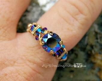 Starlight AB Vintage Swarovski Hand Crafted Wire Wrap Ring Fine Jewelry Original Signature Crystal Design Fine jewelry