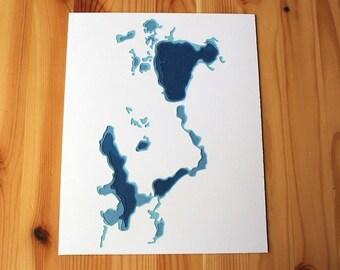 Iowa Great Lakes - original 8 x 10 papercut art