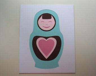 "Matryoshka ""Heart"" -- Layered Papercut Art 8 x 10"