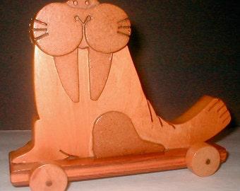 Wooden Walrus Pull Toy - Hand Made CooCoo Ca Choo Animal Play