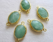 FIVE Faceted Amazonite Oval Connectors Gold Plated