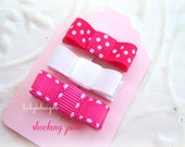 Baby Clip / Infant Clip  / Girls Petite Baby Bow PINK SUGAR Infant No Slip Clips/Girls Bow or U Pick