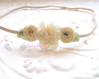 AMELIA Hair Clip or Headband Newborn Baby Girl Headband.Baby Bow Flower Headbands Spring Easter Pastel Ivory lavender Coral Aqua