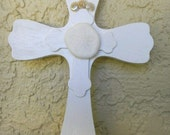 Cross, Crucifix, Seashell Cross, Christian, Religious Icon, OOAK