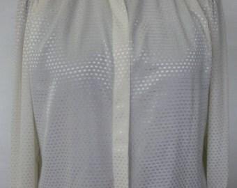 Size 18 vintage  plus size cream jacquard blouse