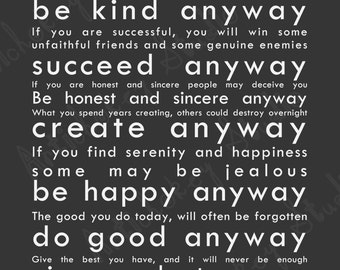 Do It Anyway - Instant Download Print for Paper - Soft Black Background with White Lettering