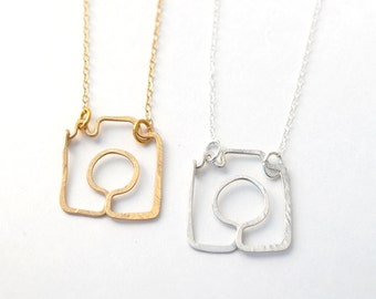 shoot me camera necklace gold filled or sterling silver