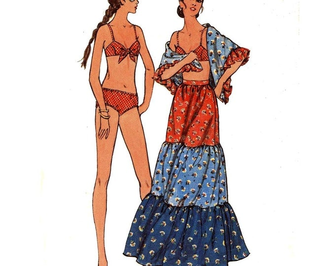 Bikini Sewing pattern Swimsuit peasant skirt and cover up Butterick 6267 vintage 70s Bust 36 Uncut