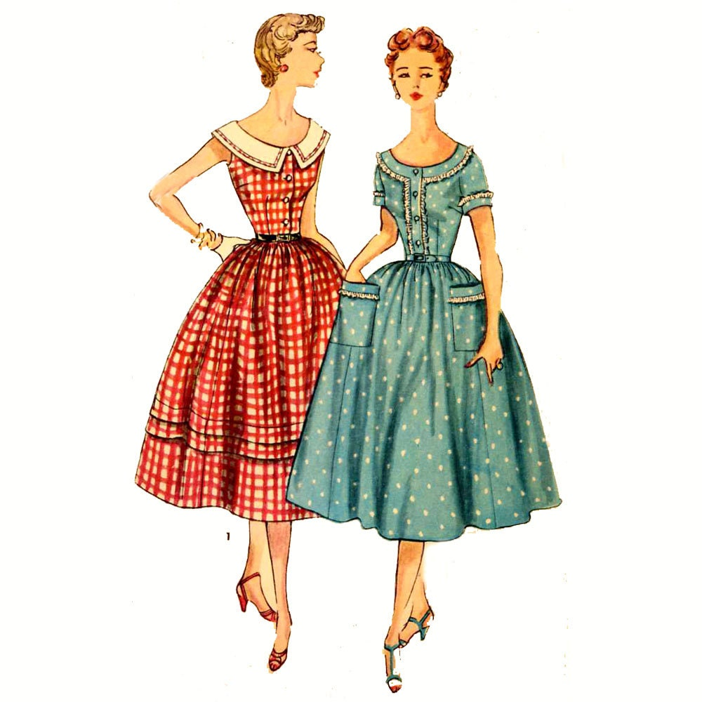 50s Rockabilly Dress Vintage Sewing Pattern McCalls 4931 Bust