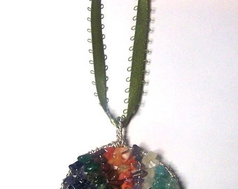 Family Tree suncatcher window hanging or Christmas ornament - gift for Mother or Grandmother - birthstone rear view mirror wall hanging
