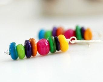 Rainbow Earrings, Shell Earrings, Funky Earrings, Dangle Earrings, Colorful Earrings, Sterling Silver - Colorfall