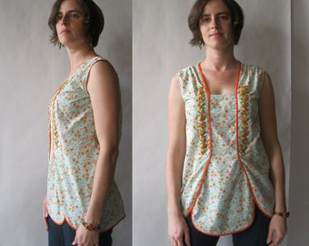 The Minnie Tunic Blouse - by AC - robin's egg blue, orange, green, and white vintage floral print with vintage trim, medium / large