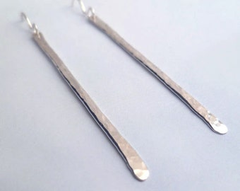 Stick Earrings - Sterling Silver - Hammered - Handmade - Textured - Minimalist - Modern - Sparkly - Cute - Gifts Under 25 - Made In Brooklyn