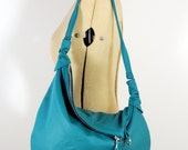 Rosaire - Handmade Leather Twin Size Hobo Bag In Turquoise Green RESERVED