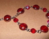 Red Aurora Borealis Glass Bracelet
