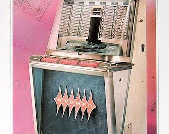 Jukebox Print - Rock-Ola Model Regis -  1988 Vintage Book Page