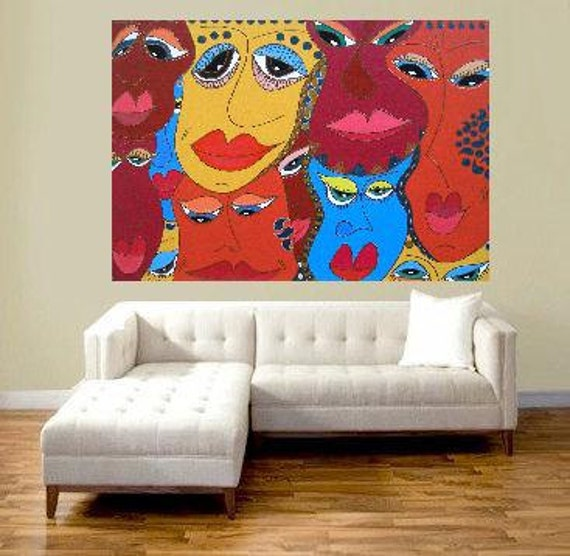 "Friends or just acquaintances... original painting, 27,5x19,7"", 70x50 cm, acrylic, fantasy, abstract, faces, heads, friends, acquaintances"