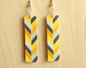 Chevron Earrings - Acrylic Earrings - Yellow and Gray Chevron Print Rectangle Acrylic Drop Earrings