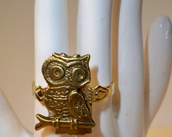 Owl Ring, Adjustable Brass Owl Ring, Ring Collection of Handmade Rings made with Upcycled Vintage Jewelry, Buttons, Crystals, Stones, Beads