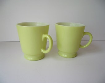 Mugs in Chartreuse Green Fired On Milk Glass Mugs Pair