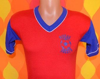 vintage 70s ringer t-shirt PISGAH soccer jersey team uniform v-neck Small 22 north carolina