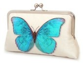 Clutch bag, silk purse, wedding bag, bridesmaid gift, BLUE BUTTERFLY