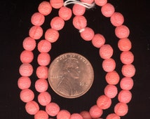 25 Antique Vintage Czech Ornately TEXTURED CORAL 6mm Art Deco Glass Beads From Original Hank No.72B