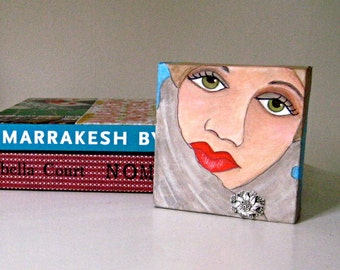 FARAH SMALL PAINTING, Hand Painted, Arabic Woman, Painting for Bookcase, Novelty Painting