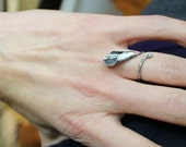 Black calla lily ring - adjustable coil ring, textured, organic