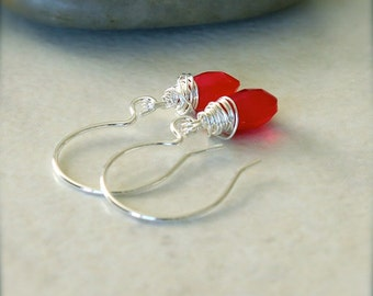 Sterling Silver Faceted Chalcedony Red Pink Gemstone Wire Wrapped Dangle Earrings - Fire // F099