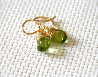 14K Gold Filled Earrings with Wire Wrapped Green Peridot Gemstones August Birthstone - Greenery // F144