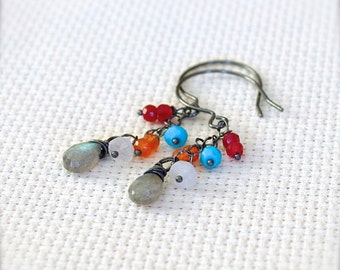 Oxidized Sterling Silver Earrings with Wire Wrapped Labradorite, Moonstone, Turquoise, Carnelian, Quartz Gemstones - Water's Edge // F164