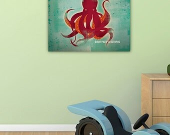 Shedd Aquarium Chicago Octopus original illustration on gallery wrapped canvas by stephen fowler