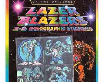 Masters of the Universe Beast Man Lazer Blazers by Colorforms 3-D Holographic Stickers NIP RARE Vintage 1983
