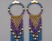 SALE - Seed Bead Hoop Chain Earrings - Purple/Light Sapphire Blue