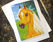 Horse Card with Envelope Beautiful Golden Palomino