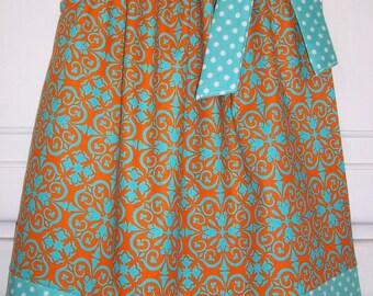 SALE Pillowcase Dress Damask Orange Aqua Medallion with Dots Spring Easter Kids Clothes baby toddler girl 3m 6m 12m
