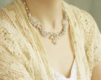 """Rhinestone Pearl Wedding Necklace / Silver Lace Collar / Blush Pink Freshwater Pearls """"Garland of Roses"""""""