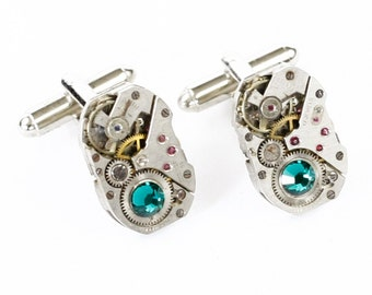 Steampunk Silver Cufflinks with Matched Rectangular Vintage Watch Movements and Emerald Green Swarovski Crystals by Velvet Mechanism