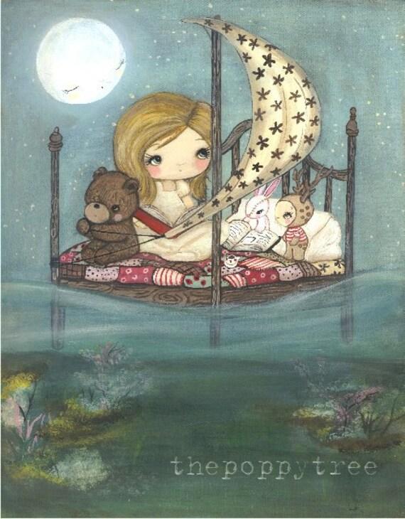 Dream Print Sailor Animal Deer Bear Bunny Children Wall Art---- My Bed is a Boat