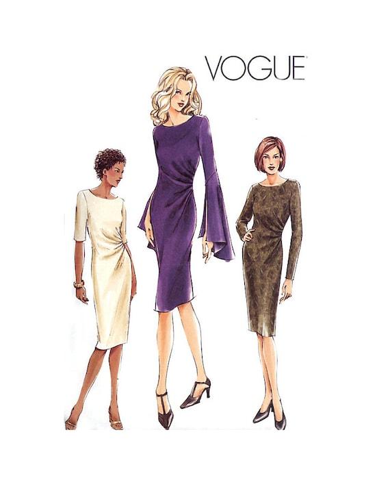 Vogue 7762 Straight Dress Pattern - Side Front Pleats - Sleeve Variations - Plus Size 18-20-22 Uncut