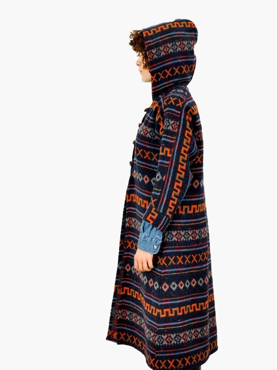SALE - Hooded Tribal Print Coat