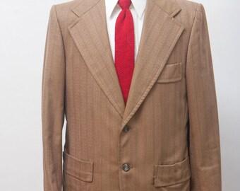 Men's Blazer / Tan Pinstripe Vintage Jacket / Size 40/Medium