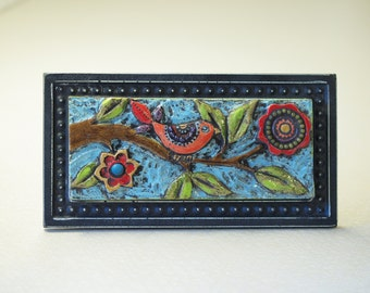 Bird on Branch Mosaic Tile - Raku Clay Tile Mosaic  Framed Art - Colorful Whimsical Botanic Pottery Home Decor Gardener Gift