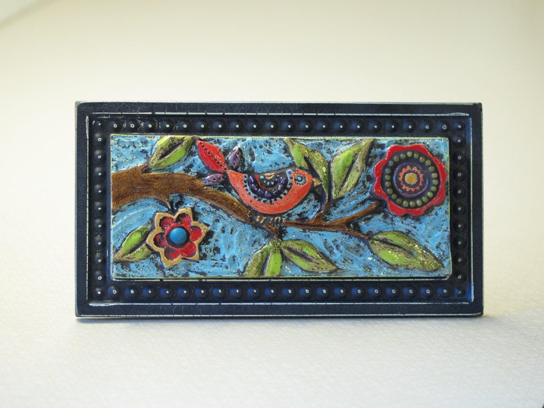 Bird On Branch Mosaic Tile Raku Clay Tile Mosaic Framed Art