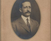Great ANTIQUE CABINET PHOTO of a Handsome Fella with a waxed Mustache- fancy cab card
