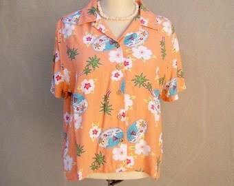 80s summer blouse / TROPICAL peach palm trees / Gloria Vanderbilt shirt / short sleeve / sailboats vacation beach top / womens large