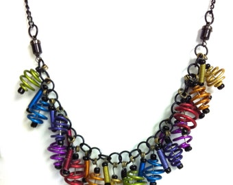 Anodized Aluminum wired spring Bracelet and necklace conversion in a rainbow of colors